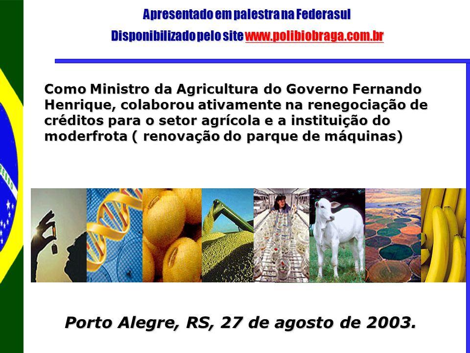 Apresentado em palestra na Federasul Disponibilizado pelo site www.polibiobraga.com.br www.polibiobraga.com.br Porto Alegre, RS, 27 de agosto de 2003.