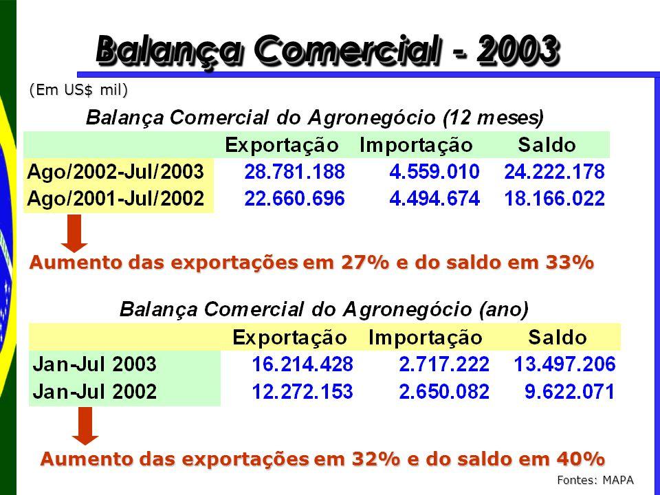Balança Comercial - 2003 (Em US$ mil) Aumento das exportações em 27% e do saldo em 33% Aumento das exportações em 32% e do saldo em 40% Fontes: MAPA