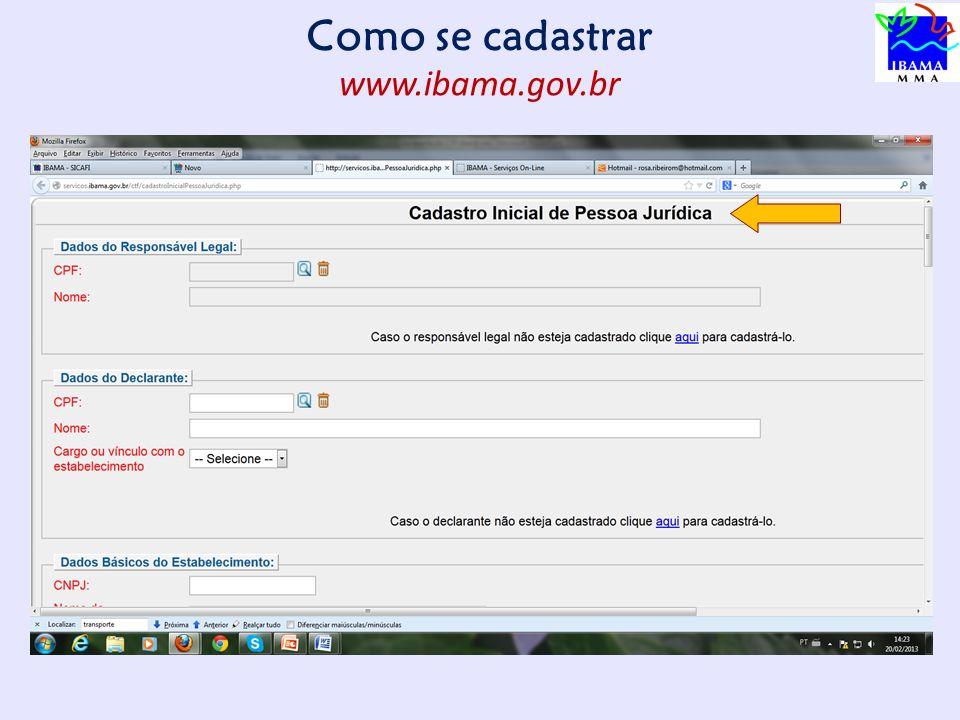 Como se cadastrar www.ibama.gov.br PÁGINA DO CTF