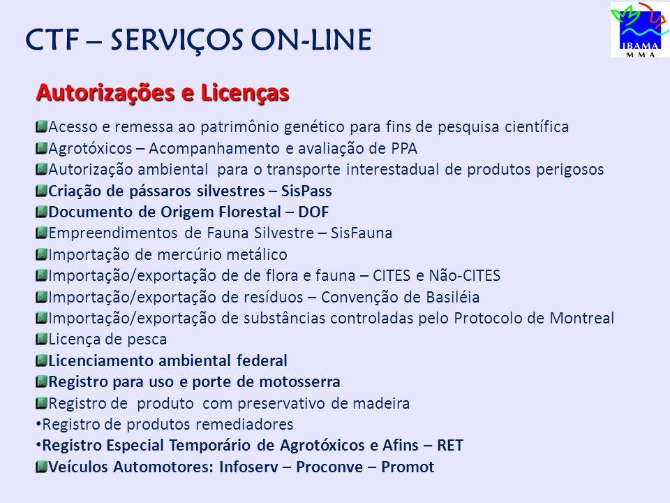 CADASTRO TÉCNICO FEDERAL Condição obrigatória para acesso aos serviços do Ibama CTF Serviços On-line Autorizações e Licenças Relatórios e Declarações