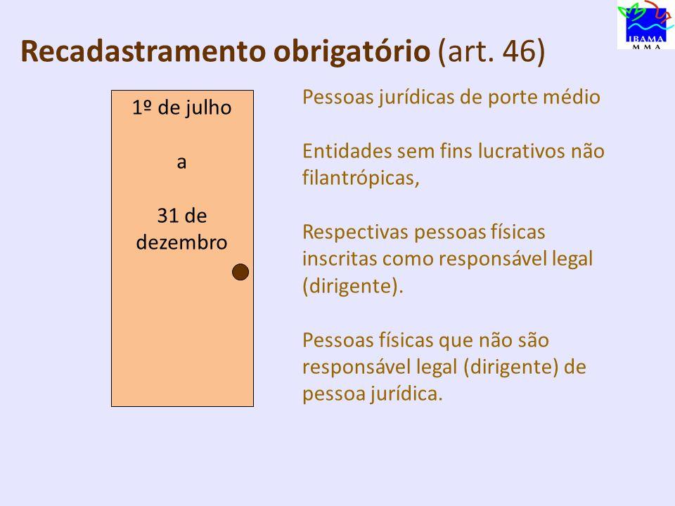R Recadastramento obrigatório (art. 46) 1º de julho a 30 de setembro Usuários do sistema DOF Pessoas jurídicas de porte grande, Respectivas pessoas fí