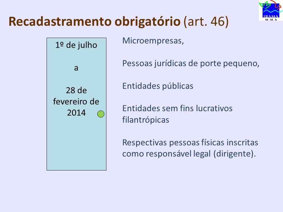 R Recadastramento obrigatório (art. 46) 1º de julho a 31 de dezembro Pessoas jurídicas de porte médio Entidades sem fins lucrativos não filantrópicas,