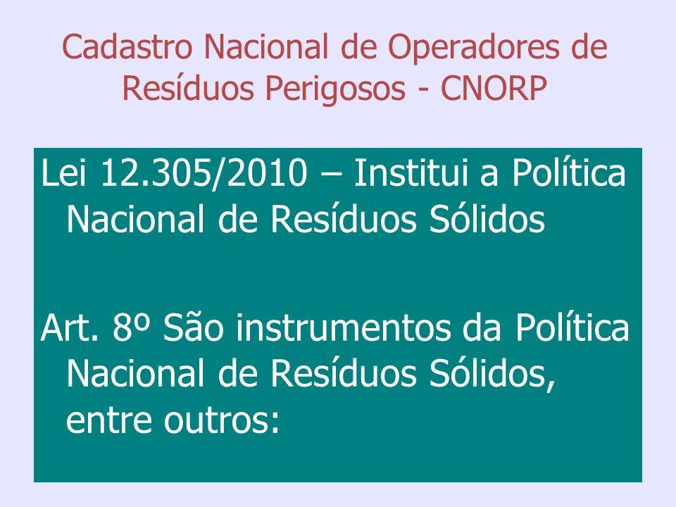 Cadastro Nacional de Operadores de Resíduos Perigosos - CNORP