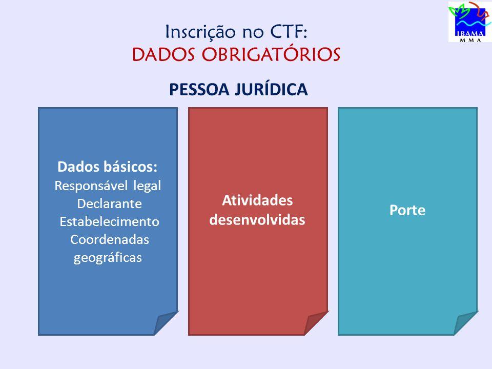 Inscrição no CTF: DADOS OBRIGATÓRIOS PESSOA JURÍDICA Dados básicos: Responsável legal Declarante Estabelecimento Coordenadas geográficas Atividades desenvolvidas Porte