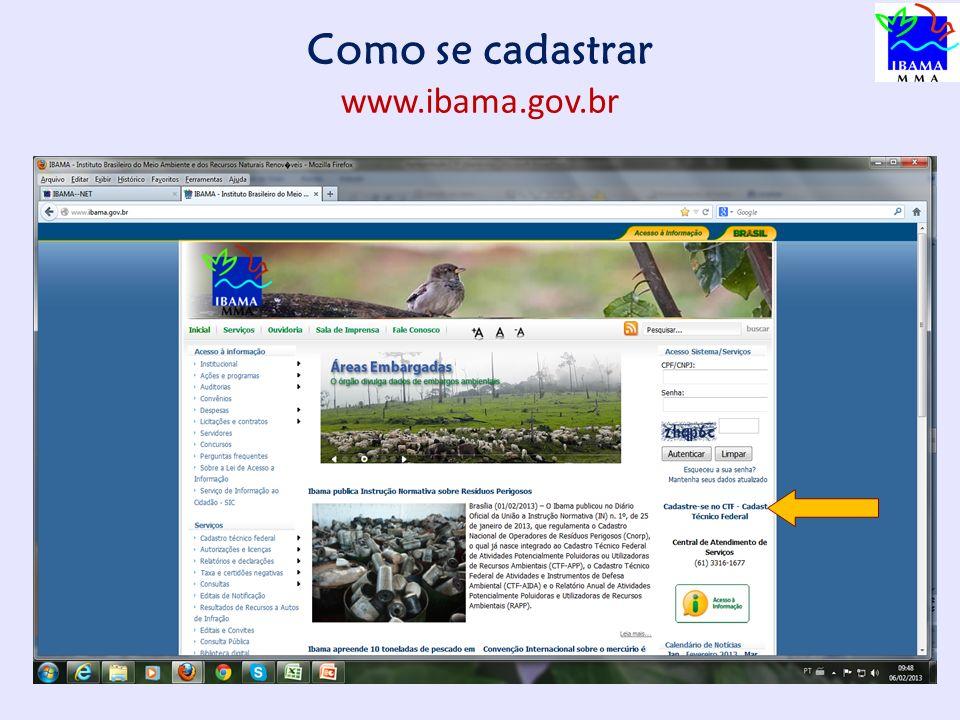 Como se cadastrar www.ibama.gov.br