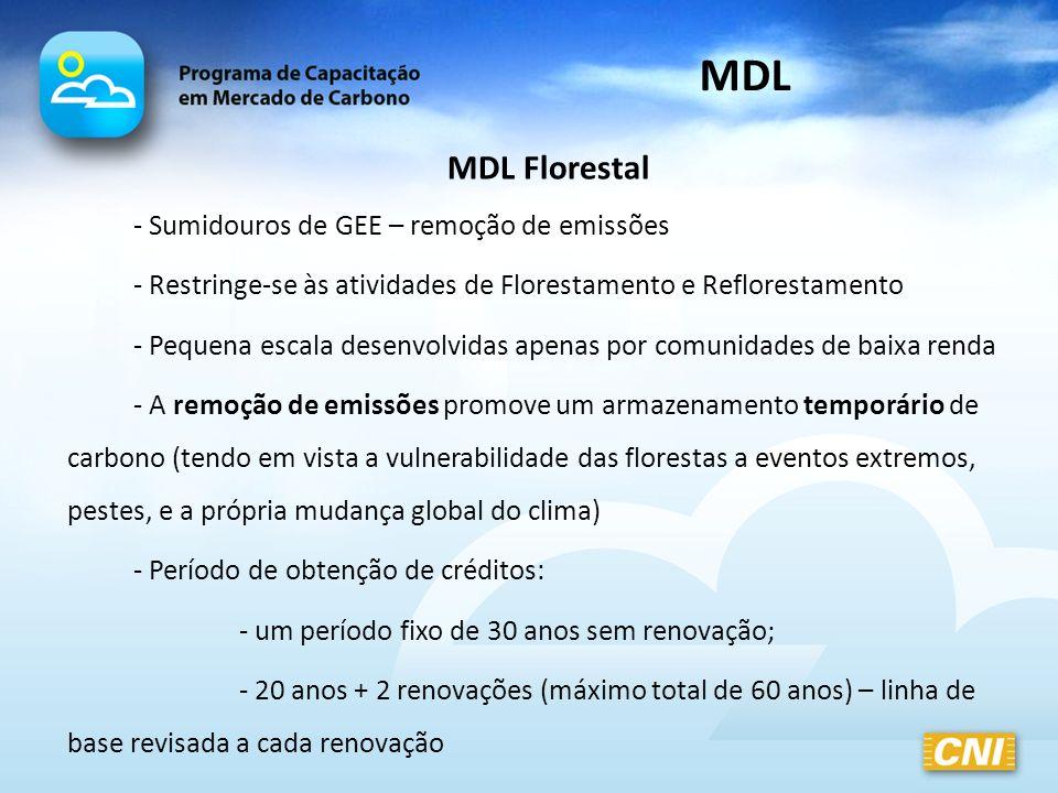 MDL Florestal - Sumidouros de GEE – remoção de emissões - Restringe-se às atividades de Florestamento e Reflorestamento - Pequena escala desenvolvidas