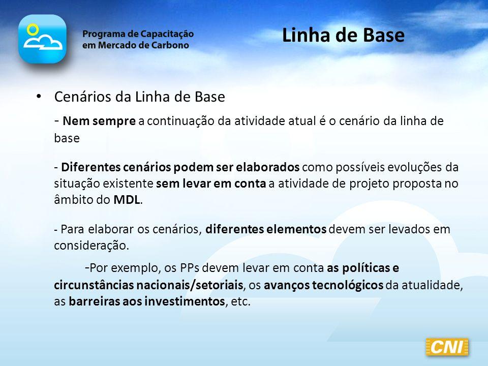 Cenários da Linha de Base - Nem sempre a continuação da atividade atual é o cenário da linha de base - Diferentes cenários podem ser elaborados como p