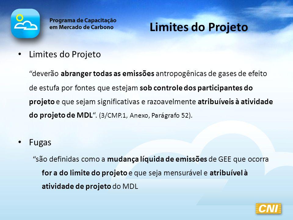 Limites do Projeto deverão abranger todas as emissões antropogênicas de gases de efeito de estufa por fontes que estejam sob controle dos participante