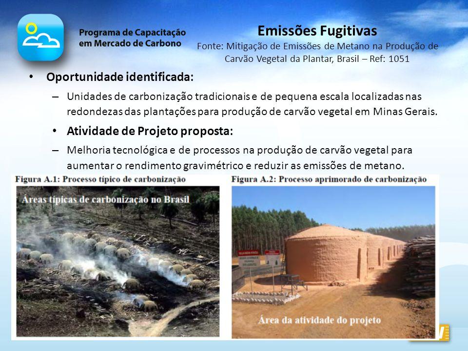 Oportunidade identificada: – Unidades de carbonização tradicionais e de pequena escala localizadas nas redondezas das plantações para produção de carv