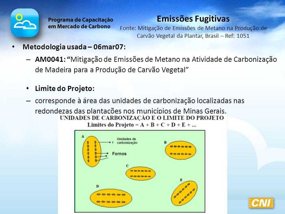 Metodologia usada – 06mar07: – AM0041: Mitigação de Emissões de Metano na Atividade de Carbonização de Madeira para a Produção de Carvão Vegetal Limit