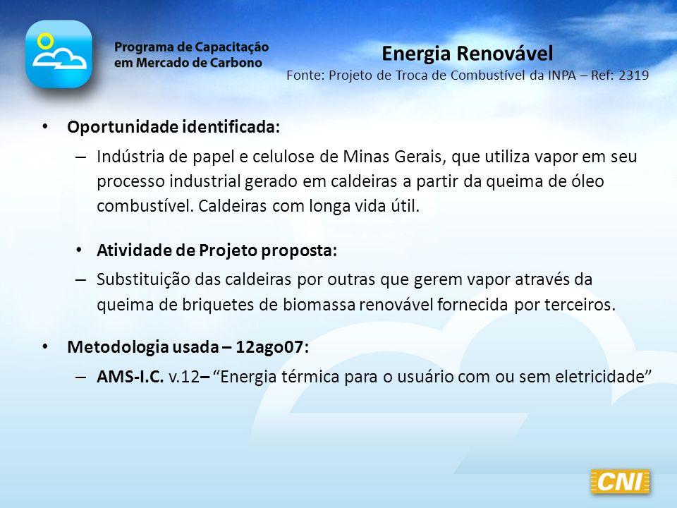Oportunidade identificada: – Indústria de papel e celulose de Minas Gerais, que utiliza vapor em seu processo industrial gerado em caldeiras a partir
