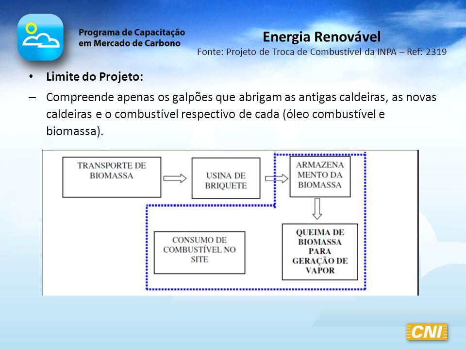 Limite do Projeto: – Compreende apenas os galpões que abrigam as antigas caldeiras, as novas caldeiras e o combustível respectivo de cada (óleo combus