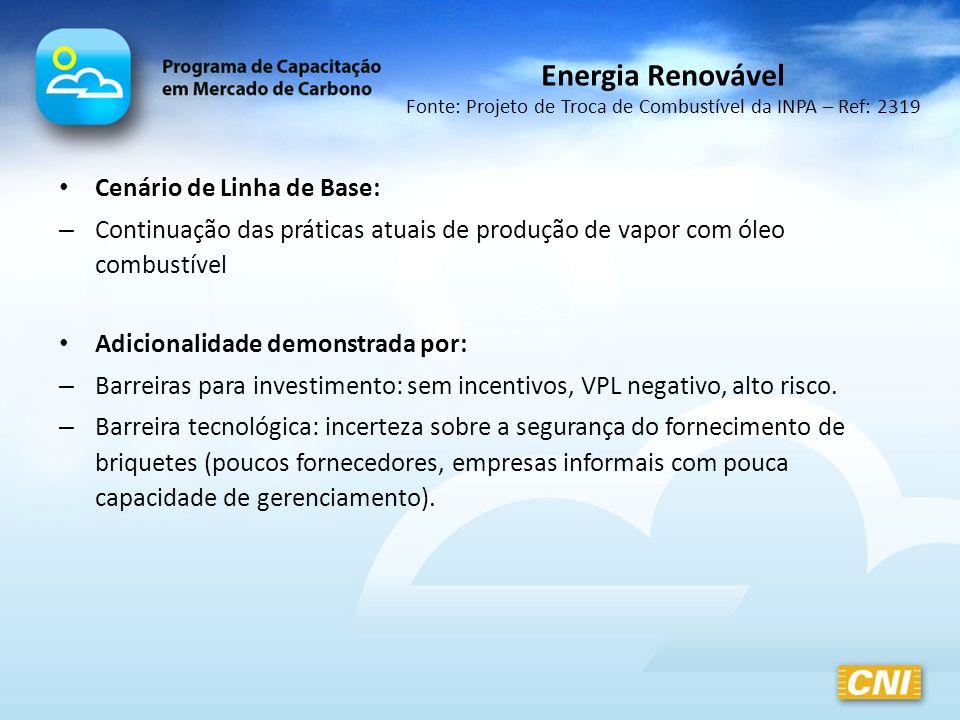 Energia Renovável Fonte: Projeto de Troca de Combustível da INPA – Ref: 2319 Cenário de Linha de Base: – Continuação das práticas atuais de produção d