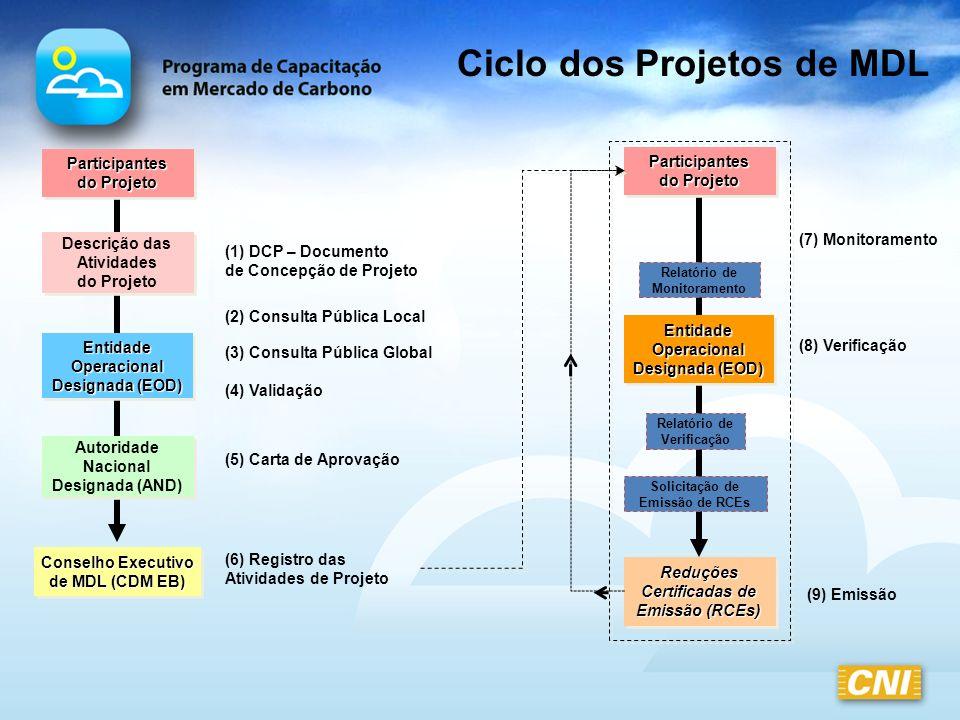 Ciclo dos Projetos de MDL Descrição das Atividades do Projeto Descrição das Atividades do Projeto Conselho Executivo de MDL (CDM EB) Conselho Executiv