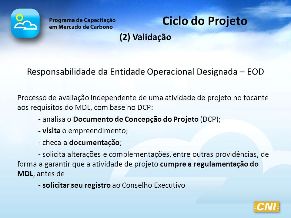 (2) Validação Responsabilidade da Entidade Operacional Designada – EOD Processo de avaliação independente de uma atividade de projeto no tocante aos r