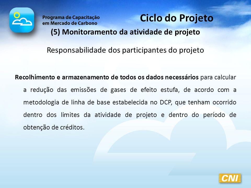 Ciclo do Projeto (5) Monitoramento da atividade de projeto Responsabilidade dos participantes do projeto Recolhimento e armazenamento de todos os dado