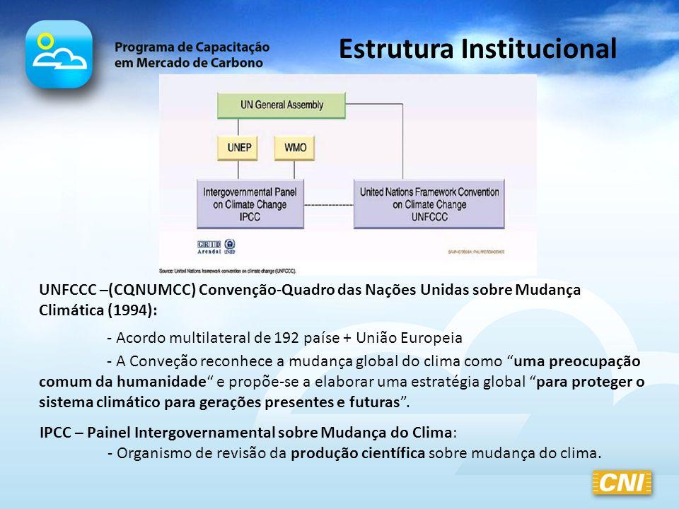 COP- Conferência das Partes: - Órgão supremo da Convenção; -Monitorar e promover a implementação da Convenção e de quaisquer elementos legais a ela relacionados - Garantir o cumprimento das metas das Partes Anexo I - Reúne-se 1 vez por ano SBSTA – Órgão Subsidiário de Assessoramento Científico e Tecnológico SBI – Órgão Subsidiário de Implementação Estrutura Institucional