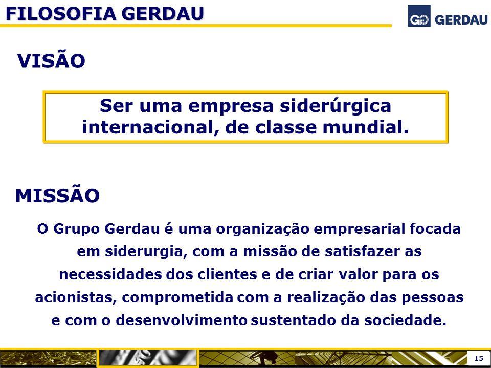 VISÃO MISSÃO O Grupo Gerdau é uma organização empresarial focada em siderurgia, com a missão de satisfazer as necessidades dos clientes e de criar val