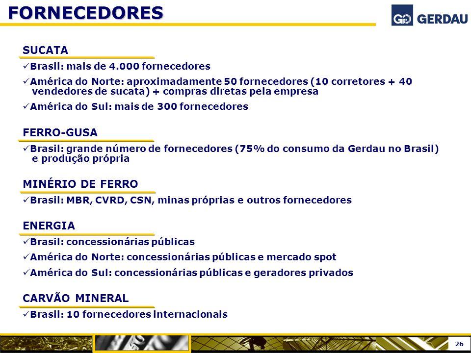 FORNECEDORES SUCATA Brasil: mais de 4.000 fornecedores América do Norte: aproximadamente 50 fornecedores (10 corretores + 40 vendedores de sucata) + c