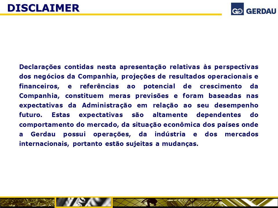 DISCLAIMER Declarações contidas nesta apresentação relativas às perspectivas dos negócios da Companhia, projeções de resultados operacionais e finance