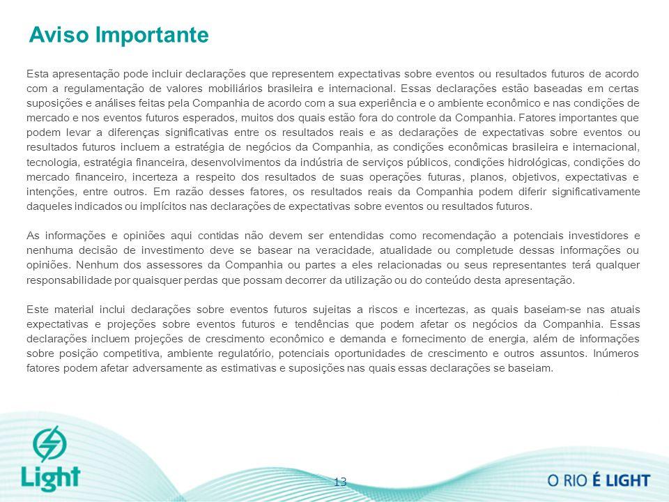 13 Aviso Importante Esta apresentação pode incluir declarações que representem expectativas sobre eventos ou resultados futuros de acordo com a regulamentação de valores mobiliários brasileira e internacional.