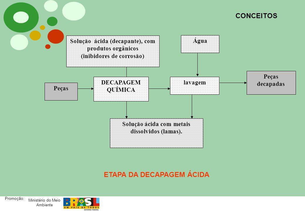 Ministério do Meio Ambiente Promoção: CONCEITOS DECAPAGEM QUÍMICA lavagem Solução ácida (decapante), com produtos orgânicos (inibidores de corrosão) P