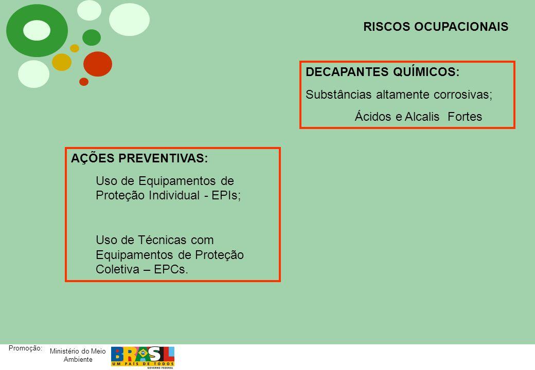 Ministério do Meio Ambiente Promoção: RISCOS OCUPACIONAIS DECAPANTES QUÍMICOS: Substâncias altamente corrosivas; Ácidos e Alcalis Fortes AÇÕES PREVENT