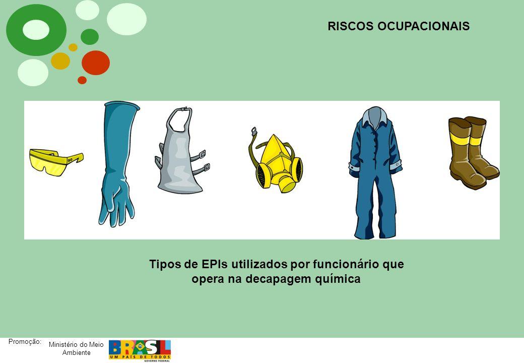 Ministério do Meio Ambiente Promoção: RISCOS OCUPACIONAIS Tipos de EPIs utilizados por funcionário que opera na decapagem química