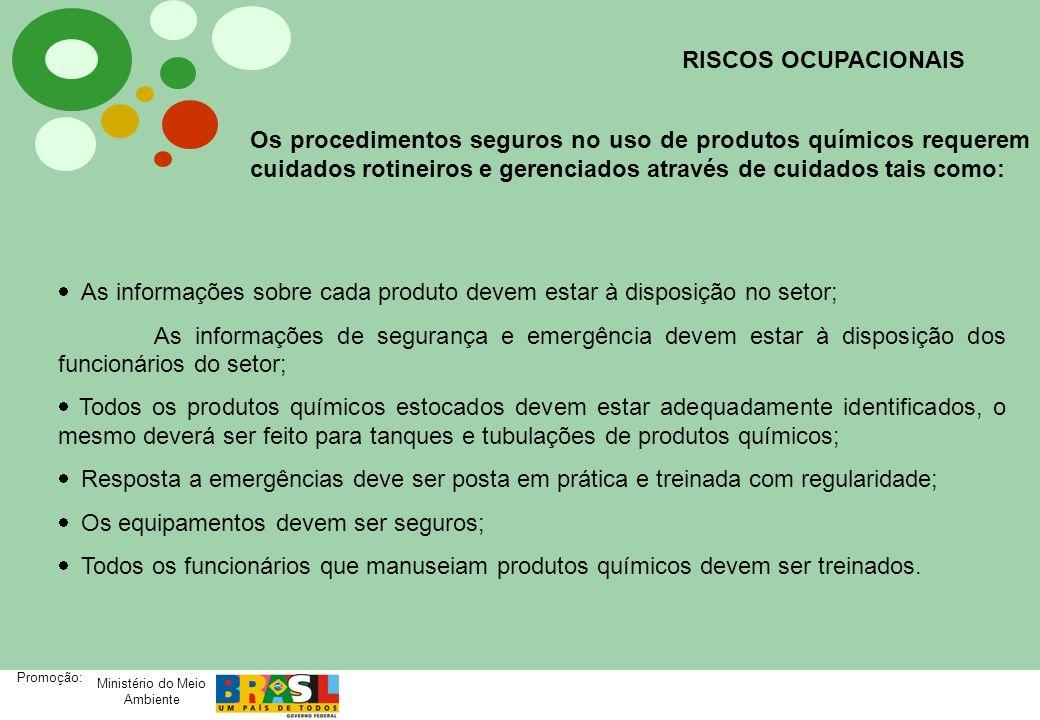 Ministério do Meio Ambiente Promoção: Os procedimentos seguros no uso de produtos químicos requerem cuidados rotineiros e gerenciados através de cuida