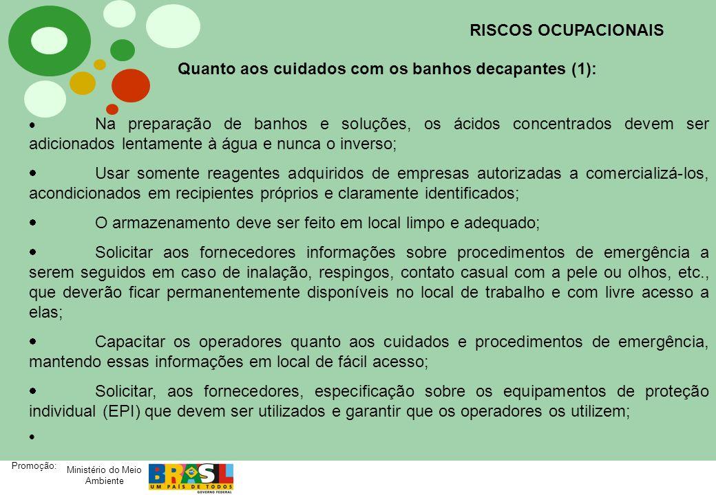 Ministério do Meio Ambiente Promoção: RISCOS OCUPACIONAIS Quanto aos cuidados com os banhos decapantes (1): Na preparação de banhos e soluções, os áci