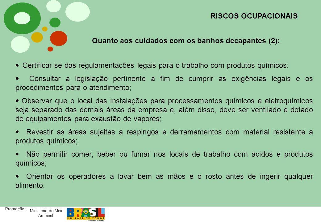 Ministério do Meio Ambiente Promoção: Quanto aos cuidados com os banhos decapantes (2): Certificar-se das regulamentações legais para o trabalho com p