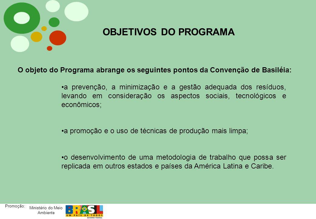 Ministério do Meio Ambiente Promoção: OBJETIVOS DO PROGRAMA O objeto do Programa abrange os seguintes pontos da Convenção de Basiléia: a prevenção, a