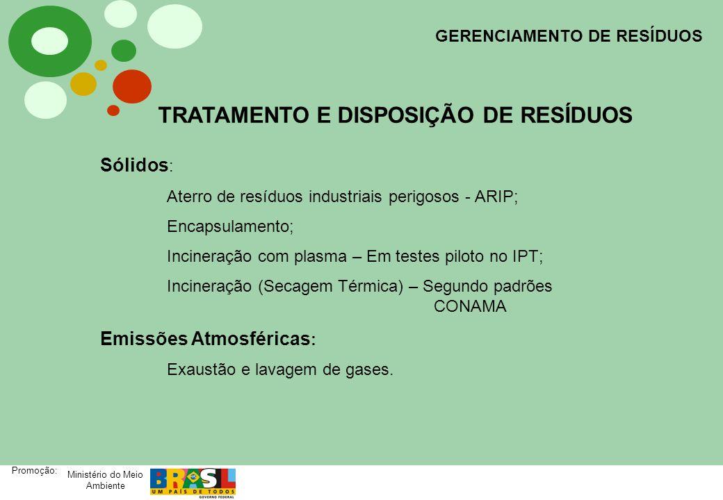 Ministério do Meio Ambiente Promoção: GERENCIAMENTO DE RESÍDUOS TRATAMENTO E DISPOSIÇÃO DE RESÍDUOS Sólidos : Aterro de resíduos industriais perigosos