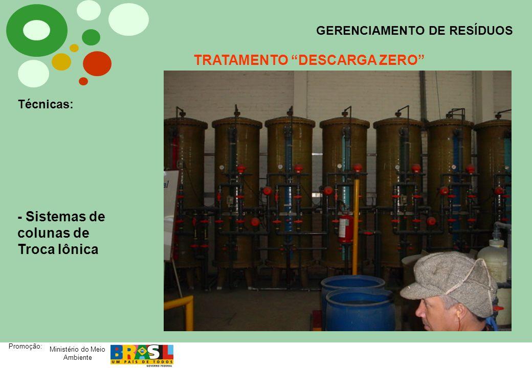 Ministério do Meio Ambiente Promoção: GERENCIAMENTO DE RESÍDUOS TRATAMENTO DESCARGA ZERO Técnicas: - Sistemas de colunas de Troca Iônica