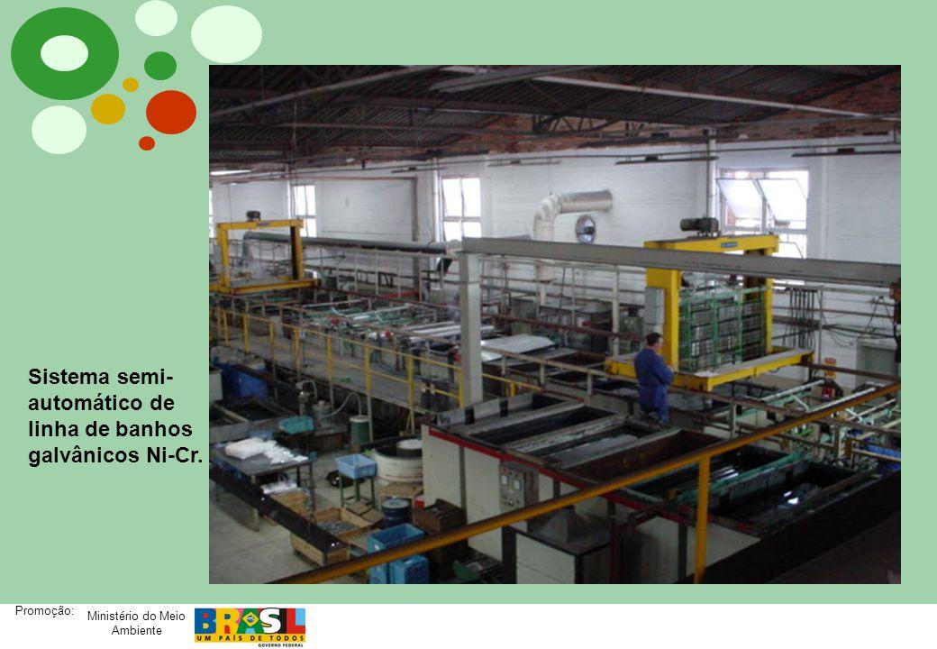 Ministério do Meio Ambiente Promoção: PRODUÇÃO MAIS LIMPA PRODUÇÃO MAIS LIMPA NA DECAPAGEM ÁCIDA NÍVEL DE PÓS-DECAPAGEM Cuidados na pós-decapagem: - Lavagens de enxagüe em cascata; - Utilização de tanque de recuperação de arraste; - Enxagüe por jatos de água; - Planejamento da produção; - Controle da qualidade da água de enxague - condutividade; - Uso de redutor de vazão – reduzir o consumo de água; - Recirculação de água – descarga zero; - Reuso de águas tratadas.