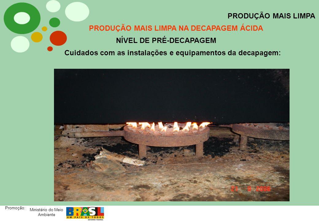 Ministério do Meio Ambiente Promoção: PRODUÇÃO MAIS LIMPA PRODUÇÃO MAIS LIMPA NA DECAPAGEM ÁCIDA NÍVEL DE PRÉ-DECAPAGEM Cuidados com as instalações e
