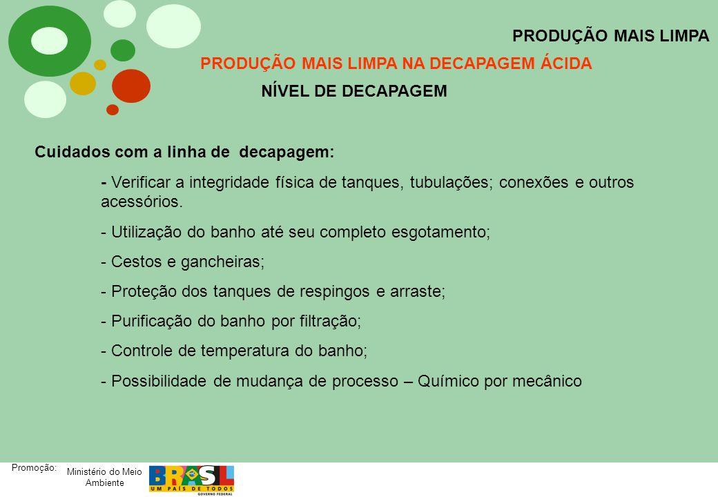 Ministério do Meio Ambiente Promoção: PRODUÇÃO MAIS LIMPA PRODUÇÃO MAIS LIMPA NA DECAPAGEM ÁCIDA NÍVEL DE DECAPAGEM Cuidados com a linha de decapagem: