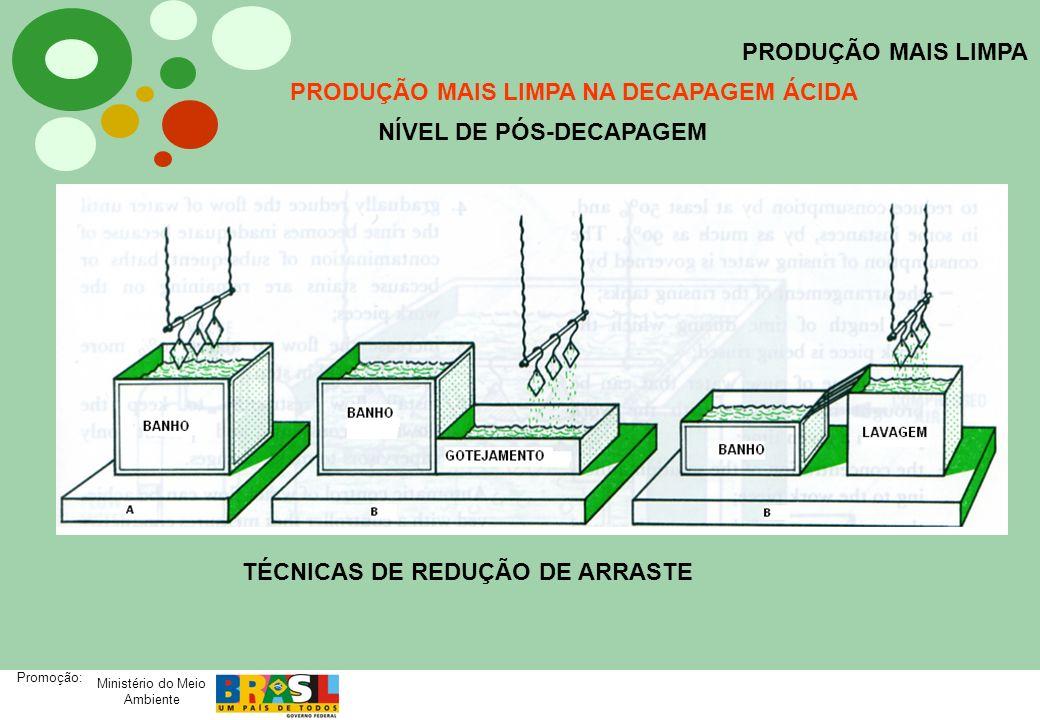 Ministério do Meio Ambiente Promoção: PRODUÇÃO MAIS LIMPA PRODUÇÃO MAIS LIMPA NA DECAPAGEM ÁCIDA NÍVEL DE PÓS-DECAPAGEM TÉCNICAS DE REDUÇÃO DE ARRASTE