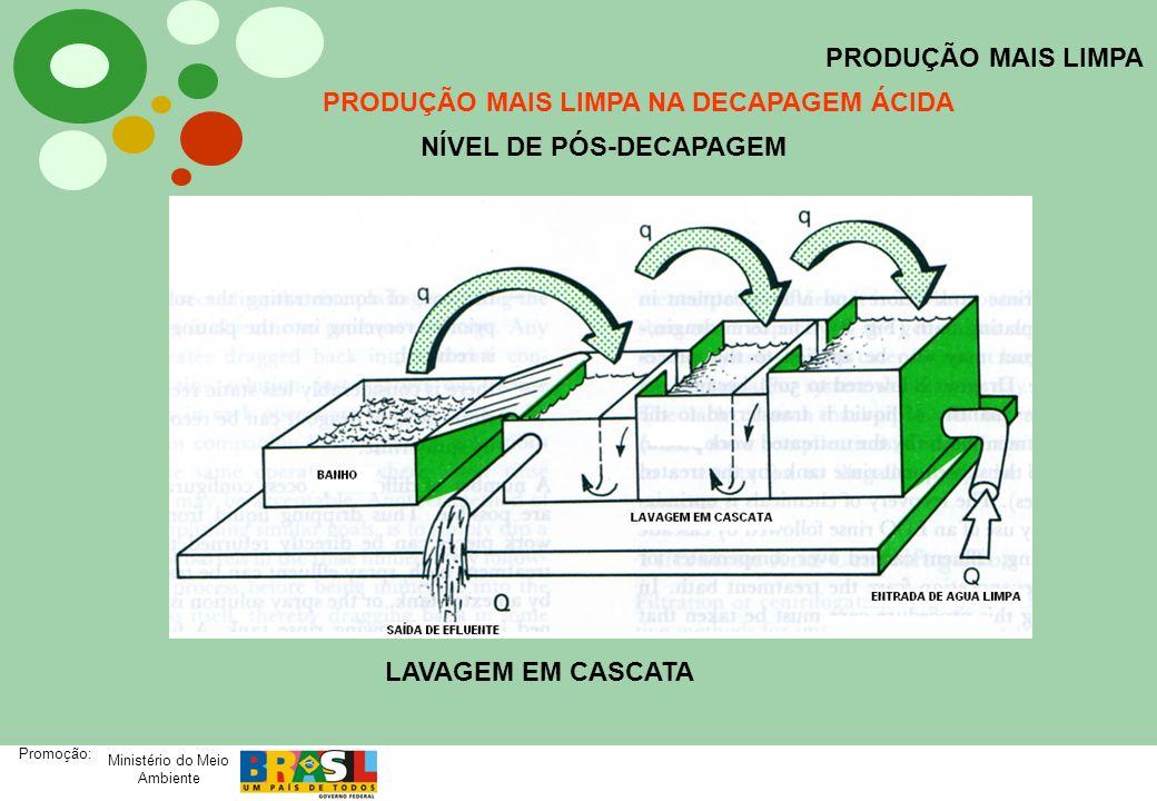 Ministério do Meio Ambiente Promoção: PRODUÇÃO MAIS LIMPA PRODUÇÃO MAIS LIMPA NA DECAPAGEM ÁCIDA NÍVEL DE PÓS-DECAPAGEM LAVAGEM EM CASCATA