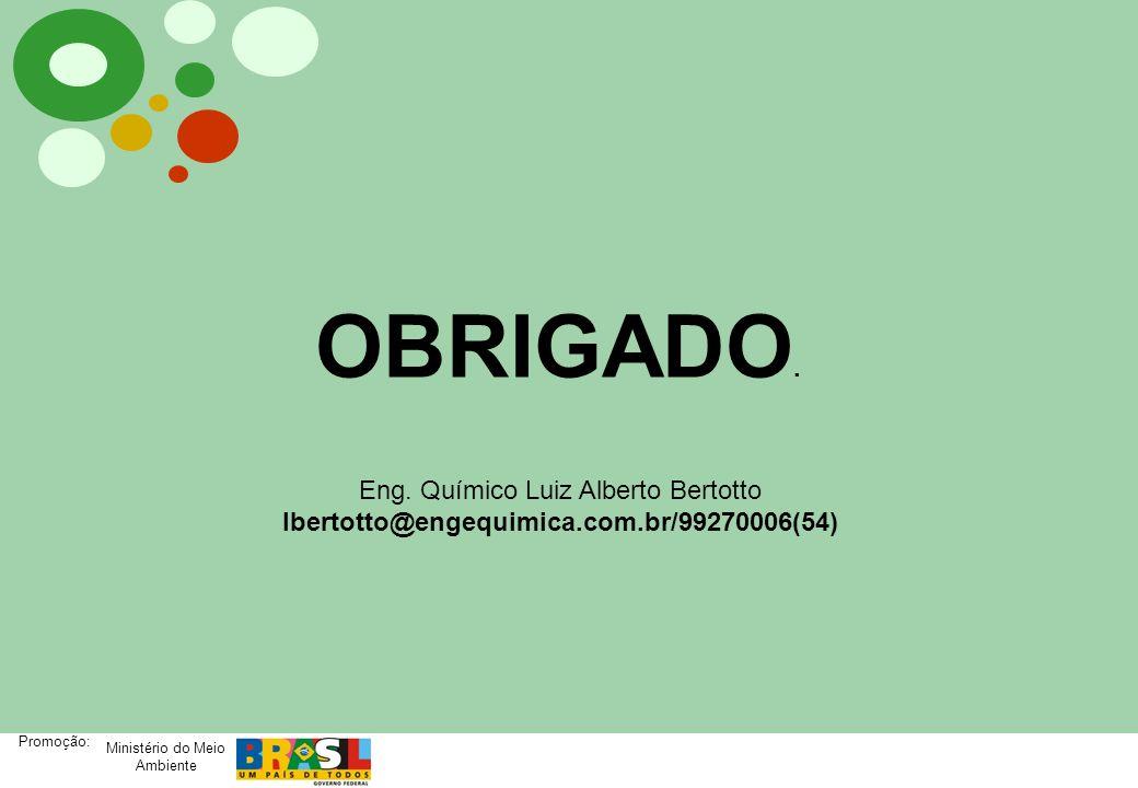 Ministério do Meio Ambiente Promoção: OBRIGADO. Eng. Químico Luiz Alberto Bertotto lbertotto@engequimica.com.br/99270006(54)