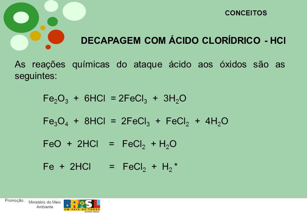 Ministério do Meio Ambiente Promoção: As reações químicas do ataque ácido aos óxidos são as seguintes: Fe 2 O 3 + 2H 2 SO 4 + H 2 = 2FeSO 4 + 3H 2 O Fe 3 O 4 + 3H 2 SO 4 + H 2 = 3FeSO 4 + 4H 2 O FeO + H 2 SO 4 = FeSO 4 + H 2 O Fe + H 2 SO 4 = FeSO 4 + H 2 * CONCEITOS DECAPAGEM COM ÁCIDO SULFÚRICO – H 2 SO 4