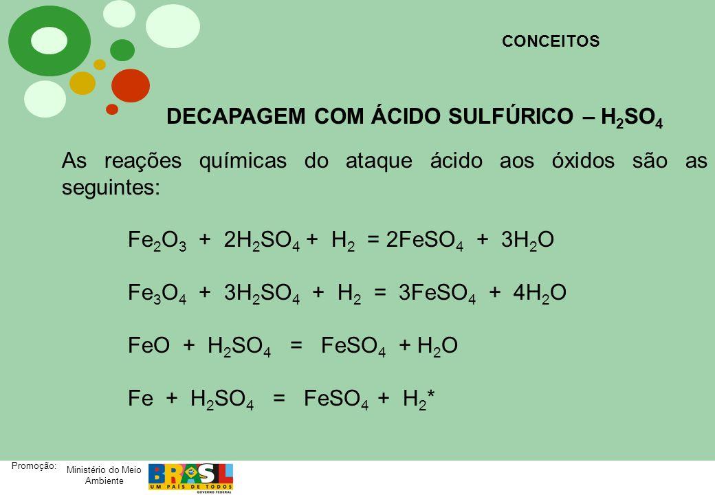 Ministério do Meio Ambiente Promoção: As reações químicas do ataque ácido aos óxidos são as seguintes: Fe 2 O 3 + 2H 2 SO 4 + H 2 = 2FeSO 4 + 3H 2 O F
