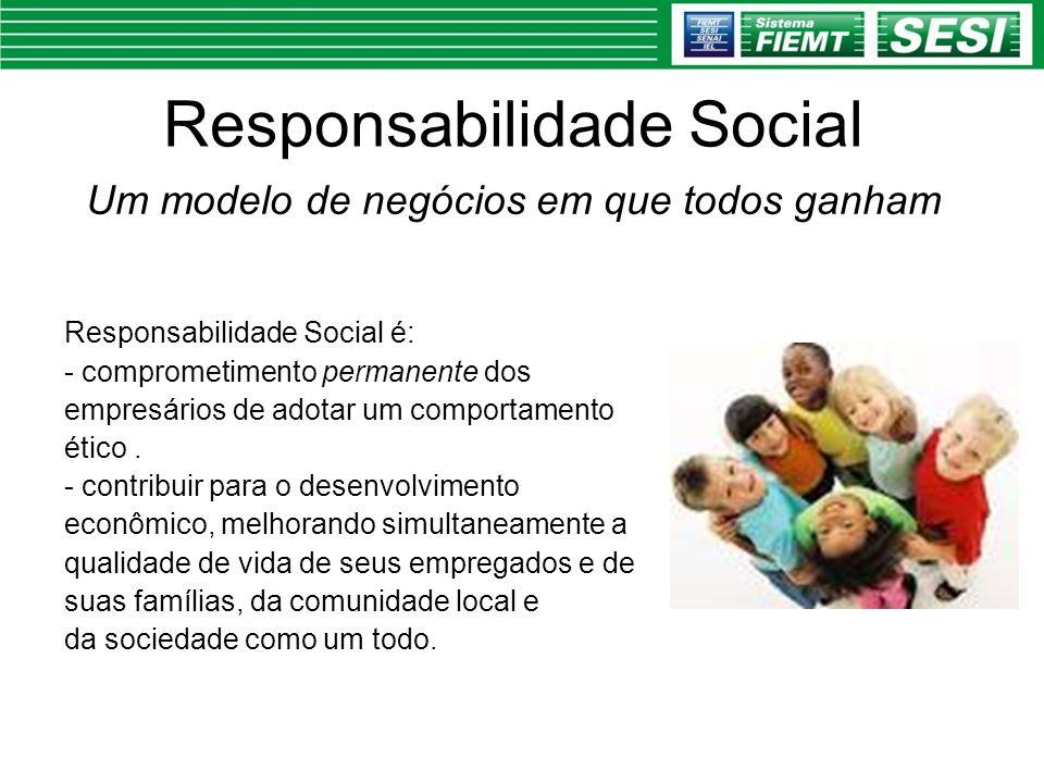 Responsabilidade Social Um modelo de negócios em que todos ganham Responsabilidade Social é: - comprometimento permanente dos empresários de adotar um