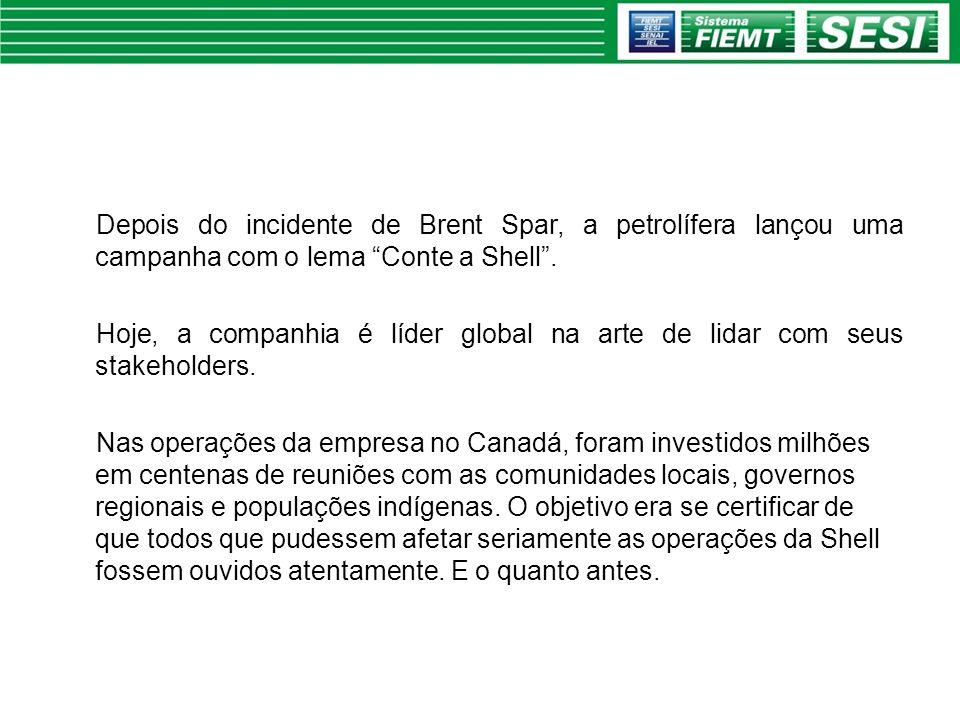 Depois do incidente de Brent Spar, a petrolífera lançou uma campanha com o lema Conte a Shell. Hoje, a companhia é líder global na arte de lidar com s