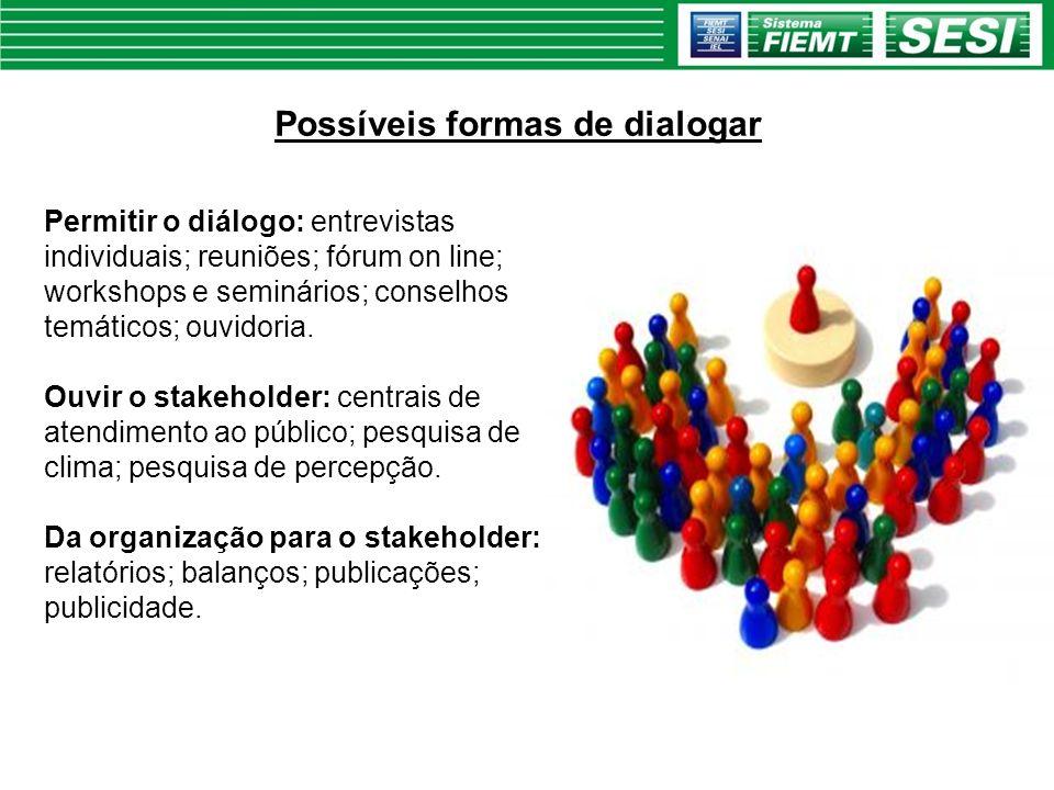 Possíveis formas de dialogar Permitir o diálogo: entrevistas individuais; reuniões; fórum on line; workshops e seminários; conselhos temáticos; ouvido