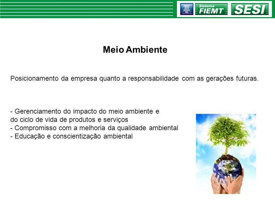 Meio Ambiente Posicionamento da empresa quanto a responsabilidade com as gerações futuras. - Gerenciamento do impacto do meio ambiente e do ciclo de v