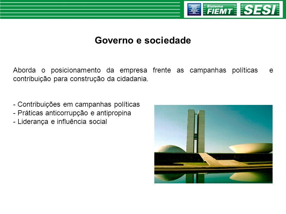 Governo e sociedade Aborda o posicionamento da empresa frente as campanhas políticas e contribuição para construção da cidadania. - Contribuições em c