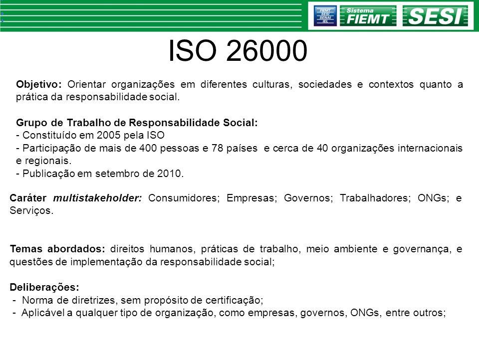 ISO 26000 Caráter multistakeholder: Consumidores; Empresas; Governos; Trabalhadores; ONGs; e Serviços. Temas abordados: direitos humanos, práticas de