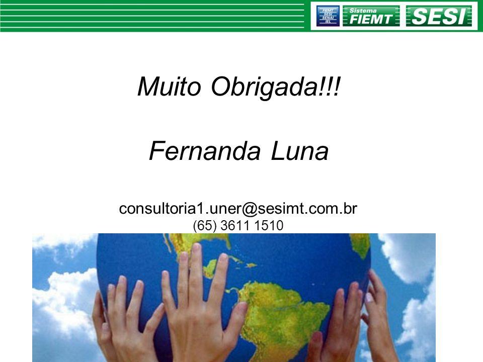 Muito Obrigada!!! Fernanda Luna consultoria1.uner@sesimt.com.br (65) 3611 1510
