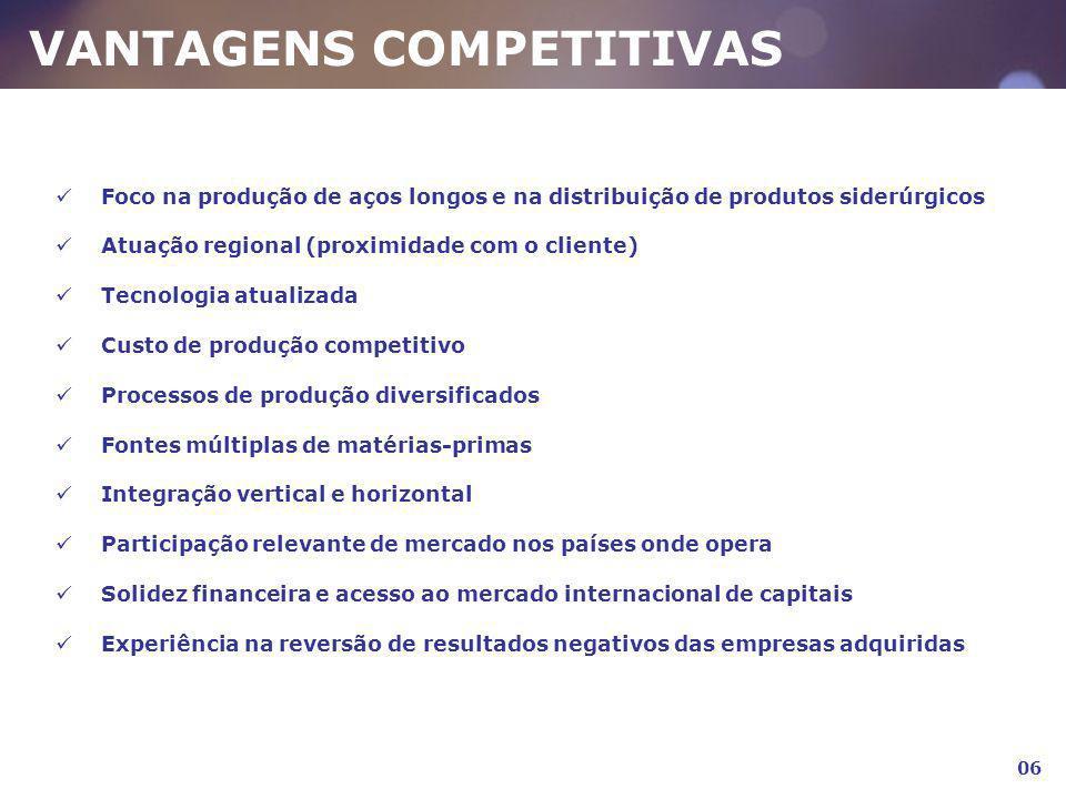 VANTAGENS COMPETITIVAS Foco na produção de aços longos e na distribuição de produtos siderúrgicos Atuação regional (proximidade com o cliente) Tecnolo